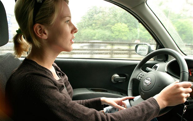 Woman driving safely