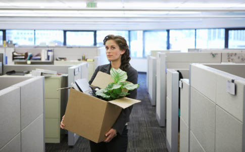 woman leaving her office