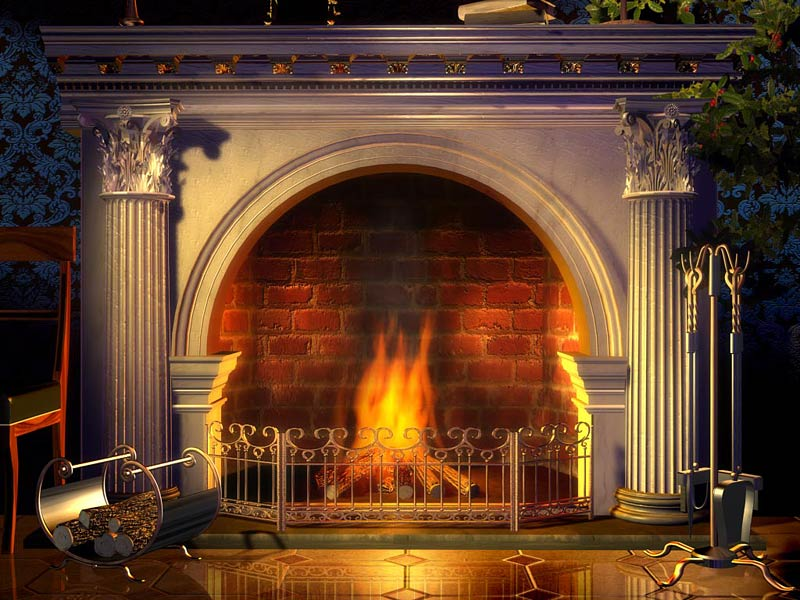 A wood fireplace