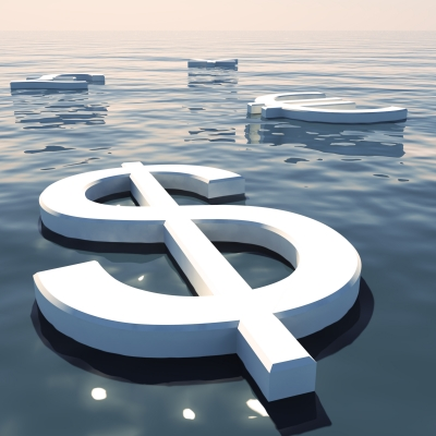 Dollar sign on water