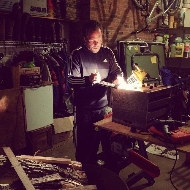 Man working in a garage