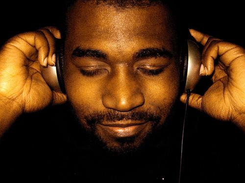 Listening to music on the headphones