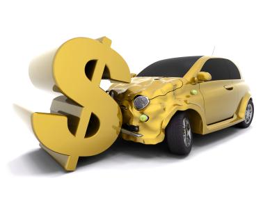 Car crashing into a dollar sign