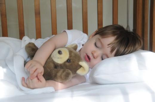 Sleeping with teddy bead
