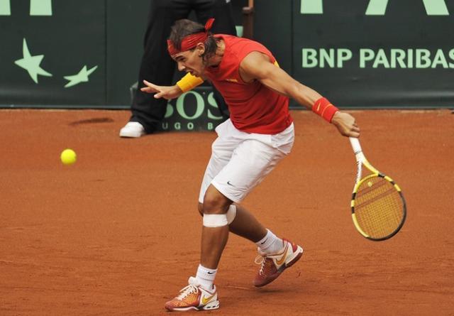 Rafael Nadal slicing the ball