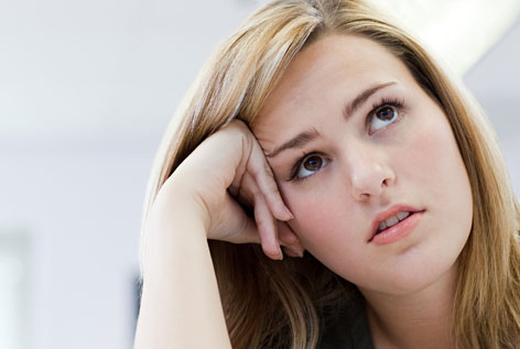 Girl thinking about what to do