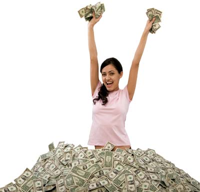 Woman happy to earn money