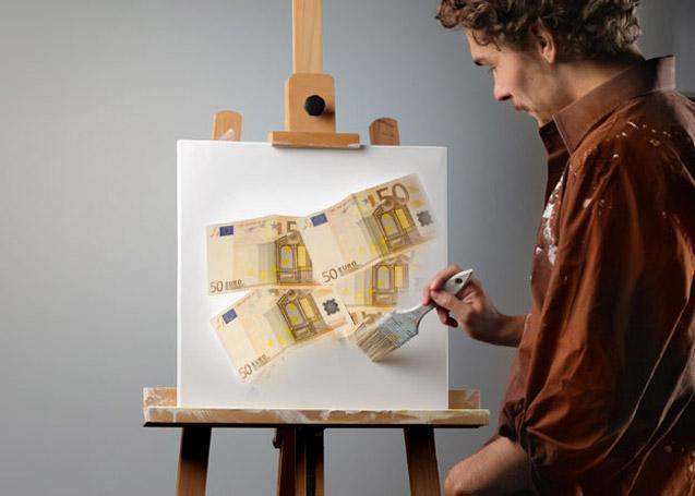 Artist painting Euros
