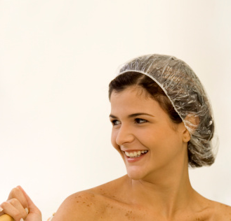 Woman with shower cap