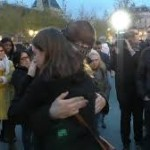 muslim man in Paris gets hugs